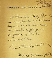 Dedicatoria de Vicente Aleixandre (1951). Biblioteca personal de Francisco Ruiz Ramón