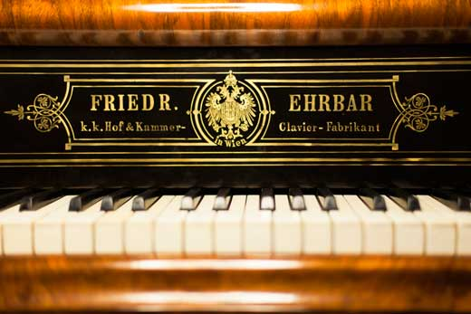 Detail of cilindrer of piano Ehrbar