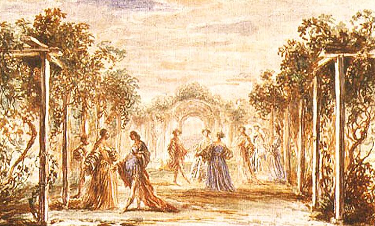 Francisco de Herrera el Mozo: Boceto escenográfico para Los celos hacen estrellas,  de Juan Vélez de Guevara (Madrid, 1672). Viena, Oesterreichische Nationalbibliothek,.