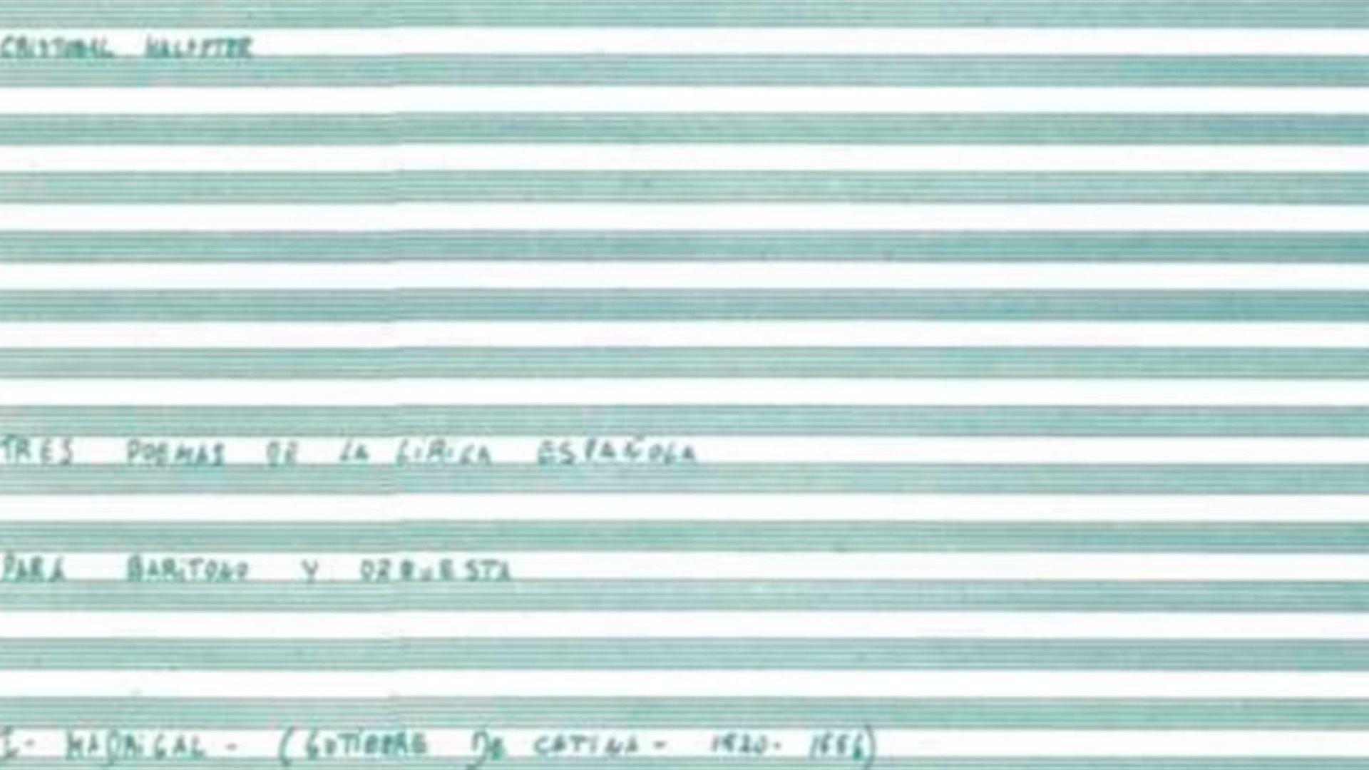 """Concierto especial 15. Presentación de """"Tres Poemas de la Lírica Española"""", de C. Halffter"""
