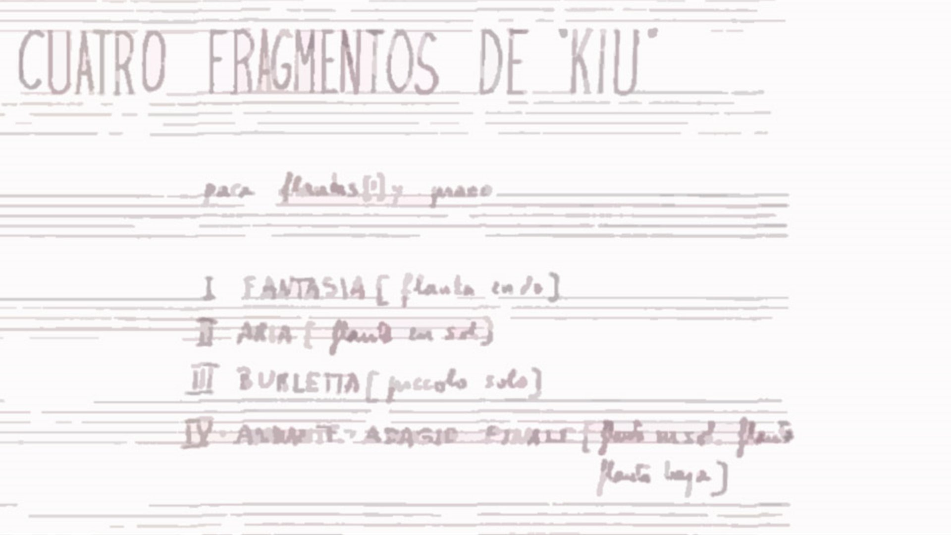 "Special Concert 12. Premiere of Luis de Pablo's latest work: Four excerpts from ""Kiu"""
