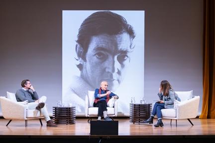 De izda. a drcha.: Adriano Morán, José Sanchis Sinisterra y Lara Siscar