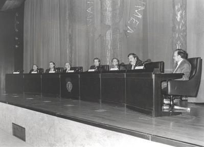 De izda. a drcha.: José Luis Villacañas, Luis Alberto de Cuenca, Carlos García Gual, Javier Gomá, Pedro Cerezo, Félix Duque y Reyes Mate
