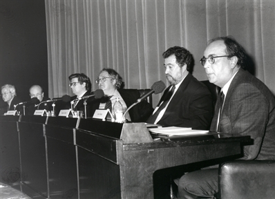 De izda. drcha.: Elías Díaz, Javier Muguerza, Javier Gomá, Antonio García Santesmases, Francisco Laporta y Carlos Thiebaut