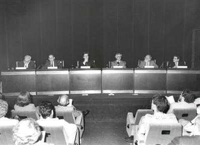 De izda. a drcha,: Miguel Angel Quintanilla, Javier Echeverría, Javier Gomá, José Manuel Sánchez Ron, Emilio Muñoz y Quintín Racionero