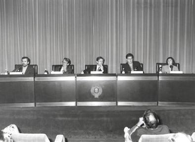 De izda. a drcha.: Manuel Cruz, Anthohy Pagden, Javier Gomá, José Mª Hernández y Concha Roldán.