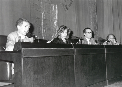 De izda. a drcha.:  Andrés Amorós, Paloma Pedrero, Luciano García Lorenzo y Jose Luis Alonso de Santos.