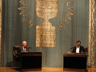 De izda. a drcha.: Emilio Lledó Iñigo y Manuel Cruz