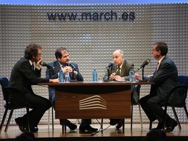 De izda. a drcha.: Íñigo Alfonso, Ignacio Molina, José Juan Toharia y Antonio San José