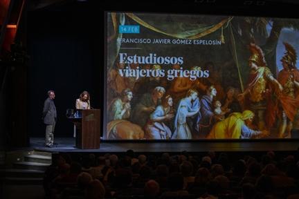De izda. a drcha.: Francisco Javier Gómez Espelosín y Lucía Franco