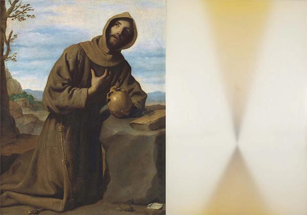 """Francisco de Zurbarán, """"San Francisco en Oración"""", 1959 (izquierda). Gustavo Torner, """"Homenaje a Zurbarán"""", 1970 (derecha)"""