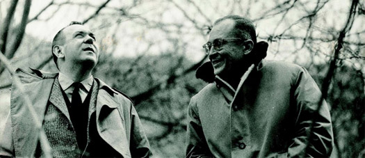 Gustavo Torner and Fernando Zóbel below the San Pablo Bridge in Cuenca, c 1966