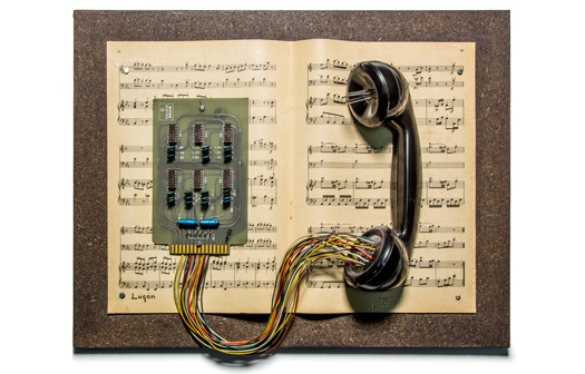 "LUGAN. ""Partitura telefónica"" [Telephone score], 1986. Assemblage. Lent by the artist"