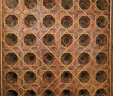 Carved and painted coffered wooden