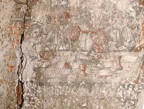 Gothic mural with a banquet