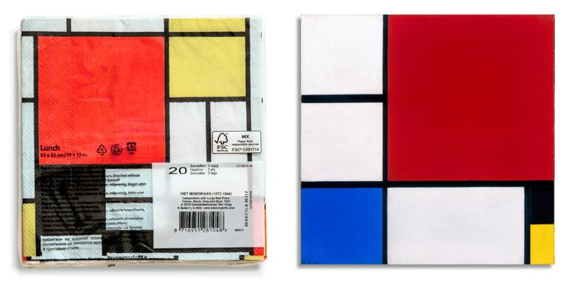 Servilletas con la reproducción de la obra de Piet Mondrian
