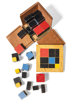 Maria Montessori, Mathematical blocks for psychoarithmetic exercises, ca. 1890. Juan Bordes Collection, Madrid. Photo: Dolores Iglesias