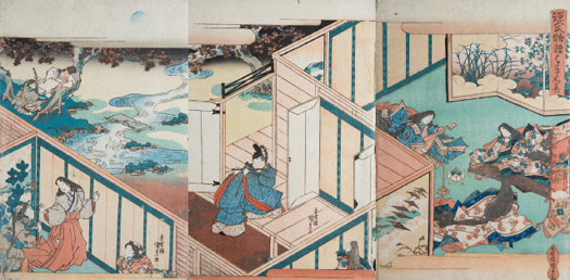 "Utagawa Kunisada (Toyokuni III). Triptych inspired by the novel ""Genji Monogatari"" [The Story of Genji] by Murasaki Shikibu, 1830. Bujalance Collection"