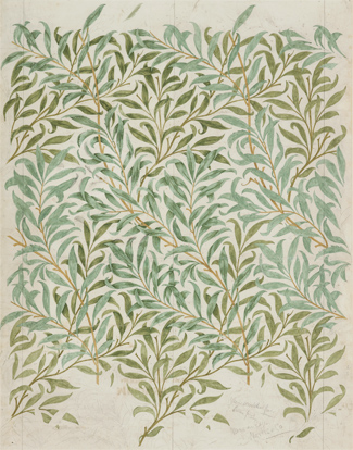 William Morris, Dibujo para el papel pintado 'Willow Bough', 1887. The Whitworth, The University of Manchester. Foto: Michael Pollard