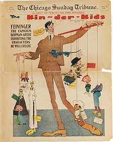 "Front cover of ""The Chicago Sunday Tribune"" with a satirical image of Lyonel Feininger, April 29, 1906. Moeller Fine Art, Nueva York © Moeller Fine Art, Nueva York"