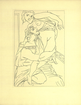 Gilbert Seldes (ed.), etching by Pablo Picasso [Kinesias and Myrrhina] for Lysistrata by Aristophanes