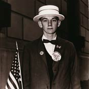 Boy With a Straw Hat Waiting to March in a Pro-War Parade, N.Y.