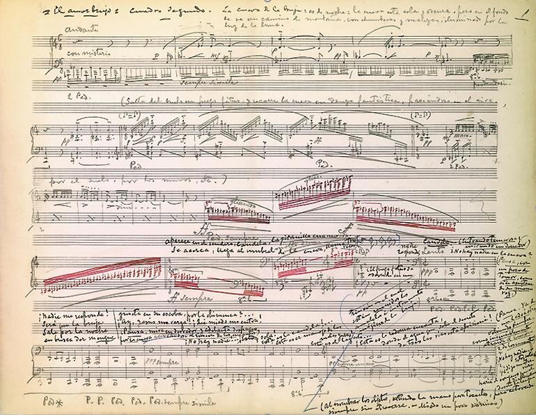"""Partitura manuscrita de """"La cueva de la bruja"""", escena del cuadro segundo de El amor brujo. Manuel de Falla. Archivo Manuel de Falla"""